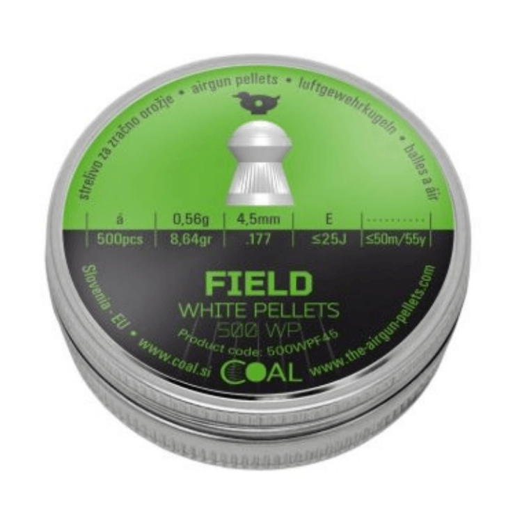 Coal Field Domed White Pellets 4.5 mm ( .177) 8.64gr 500/Tin Airgun Pellets [B-Stock] - Kovibazaar