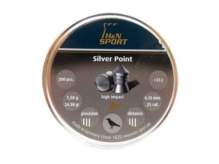 H & N SPORTS SILVER POINT PELLETS 200pcs (.25 cal) 24.38gr 6,35mm - Kovibazaar