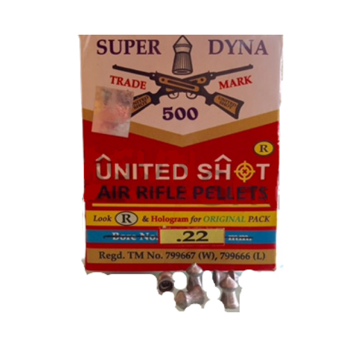 United Shot Super Dyna Pointed (0.22cal/5.5mm) 14.6 Gr, 500/Tin Airgun Pellets - Kovibazaar