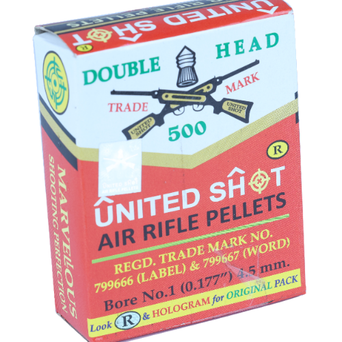 "UNITED SHOT DOUBLE HEAD AIR RIFLE PELLETS .177""(4.5mm) 500qty - Kovibazaar"