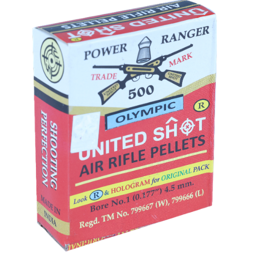 "UNITED SHOT POWER RANGER AIR RIFLE PELLETS 0.177"" 4.5mm(OLYMPIC) - Kovibazaar"