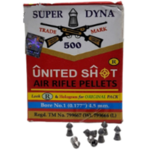 United Shot Super Dyna Pointed (0.177cal/4.5mm) 500/Tin Airgun Pellets