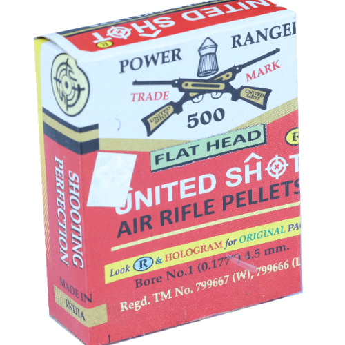 United Shot Power Ranger Flat Head (0.177cal/4.5mm) 500/Tin Airgun Pellets - Kovibazaar