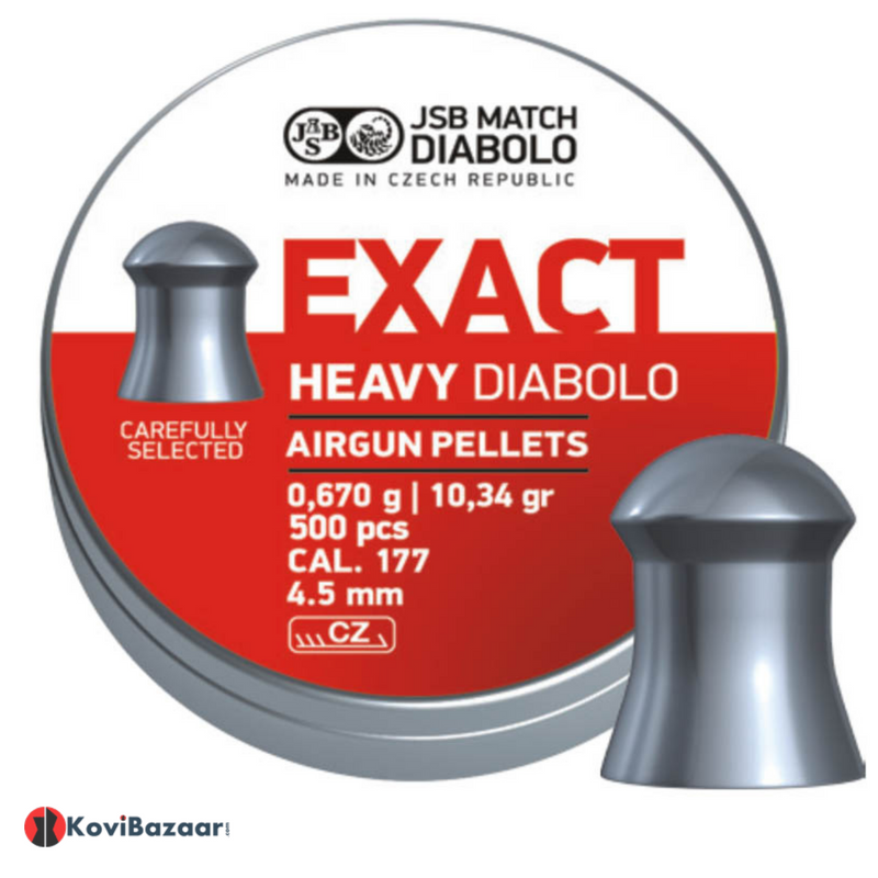 JSB Exact Heavy Diabolo .177 Cal, 10.34grains/0.670g, Domed, 500ct Airgun Pellets - Kovibazaar
