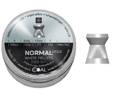 Coal Normal Pistol Match pellets 4.5 mm ( 0.177) 7.56gr 500/Tin Airgun Pellets - Kovibazaar