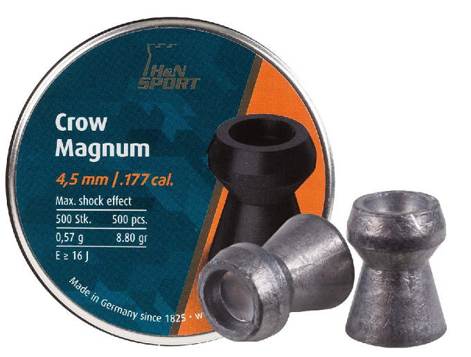 H&N Crow Magnum Pellets, .177 Cal(4.5mm), 8.80 Grains, Domed, 500ct Air Rifle Pellets - Kovibazaar