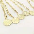 12 Zodiac Constellation Carve Coin Pendant Necklace Simple Copper Leo Beads Clavicle Chain Necklace Sexy Couple Jewelry