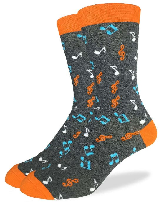 Men's Good Luck Sock Music Notes