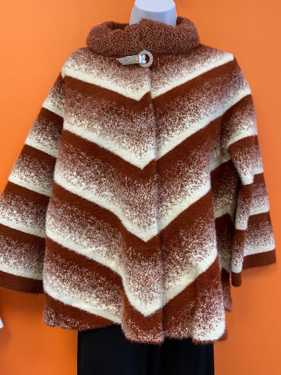 Sweater Coat Stripe Rust