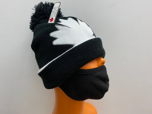 Winter Hat Large Maple Leaf Black