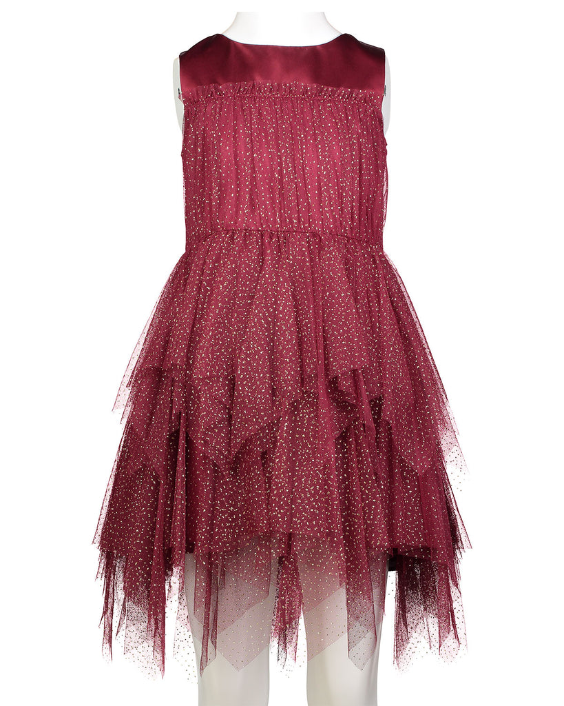 DAVID CHARLES GIRLS DRESS MAROON