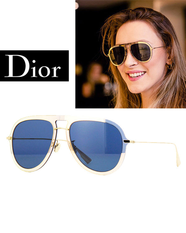 Christian Dior Glod Blue 57mm Sunglasses