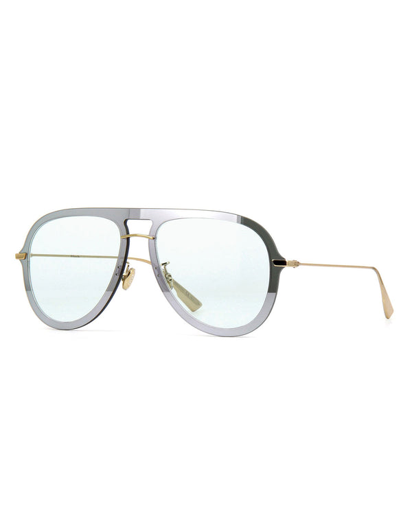 Chirstian Dior Silver Green Aviator 57mm Sunglasses