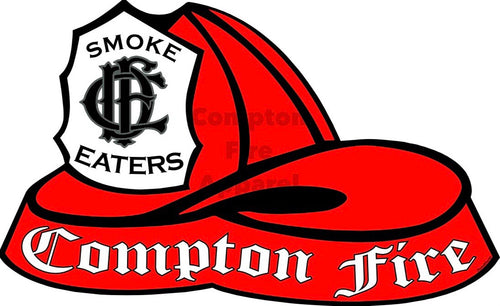 Fire Helmet Decal - Black Shield - Compton Fire Apparel Fireman First Responders