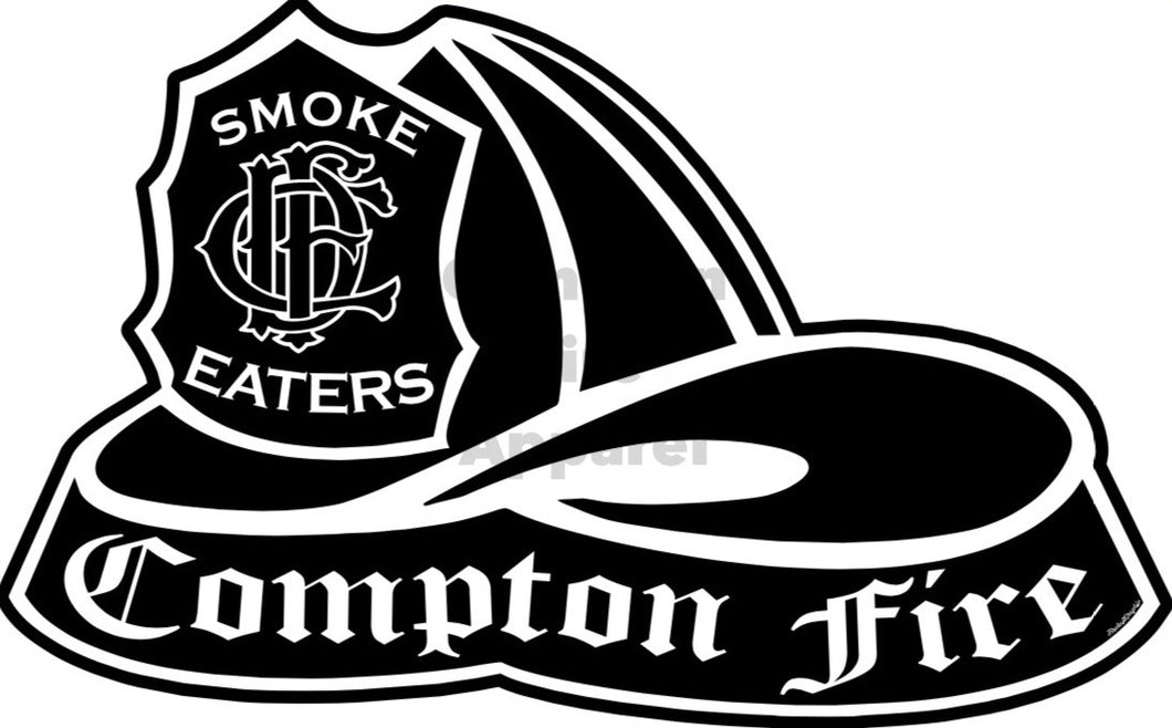 Fire Helmet Decal - Black & White - Compton Fire Apparel Fireman First Responders