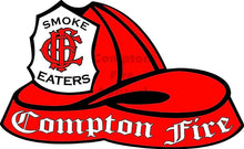 Load image into Gallery viewer, Fire Helmet Decal - Red Shield - Compton Fire Apparel Fireman First Responders