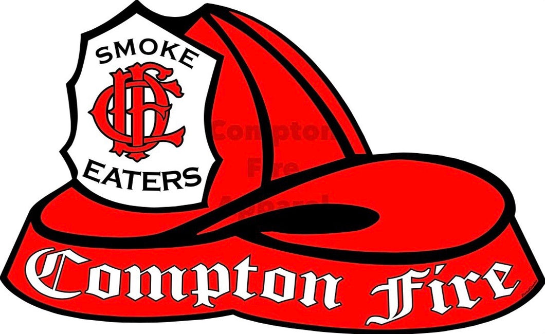 Fire Helmet Decal - Red Shield - Compton Fire Apparel Fireman First Responders