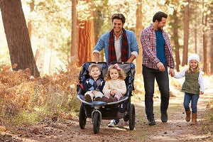 family hike in the forest
