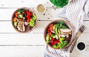 colorful bowls of food