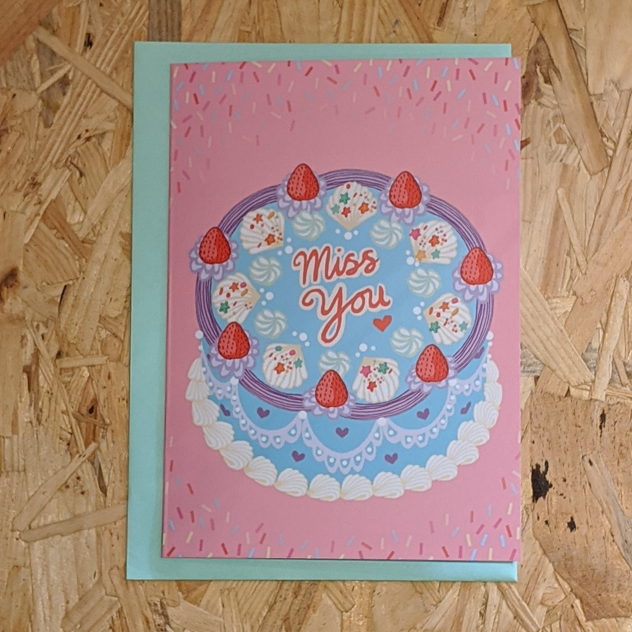 Miss you cake card