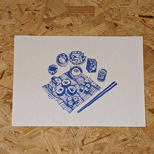 Sushi table lino print Blue