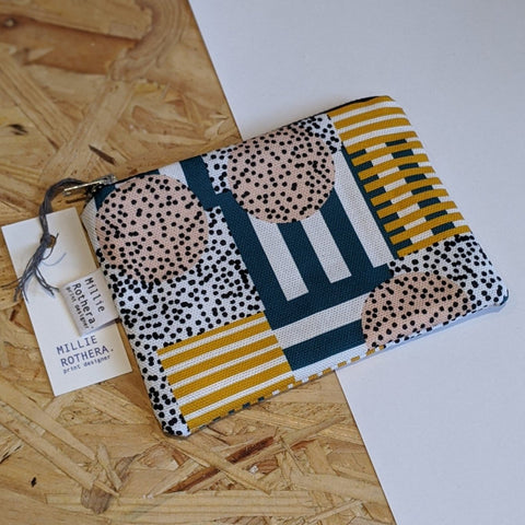 Grid patterned coin purse / pouch