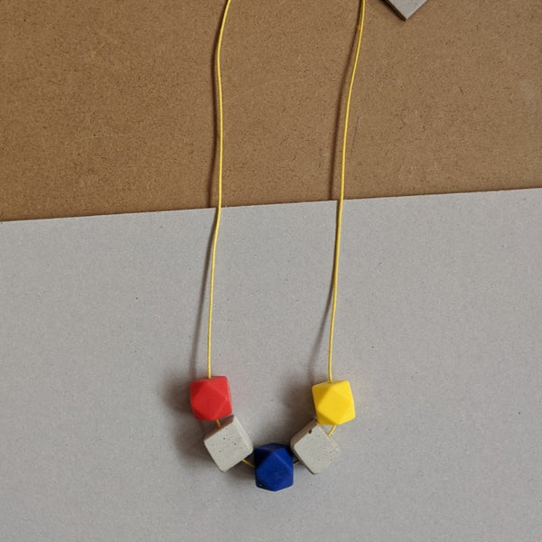 Primary colours concrete necklace