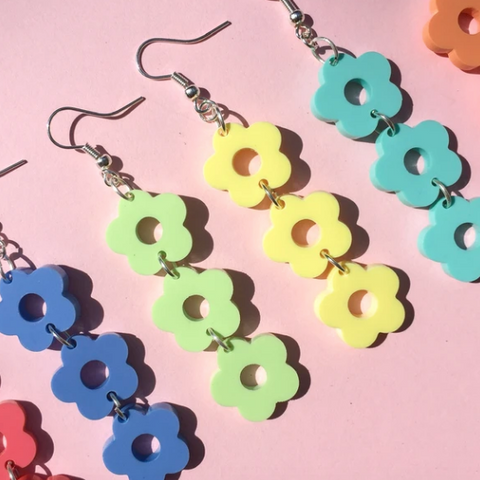 Triple flower earrings all