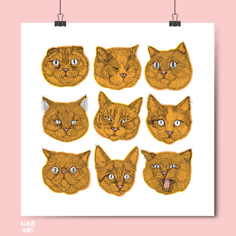 A3 Square Orange cat face print