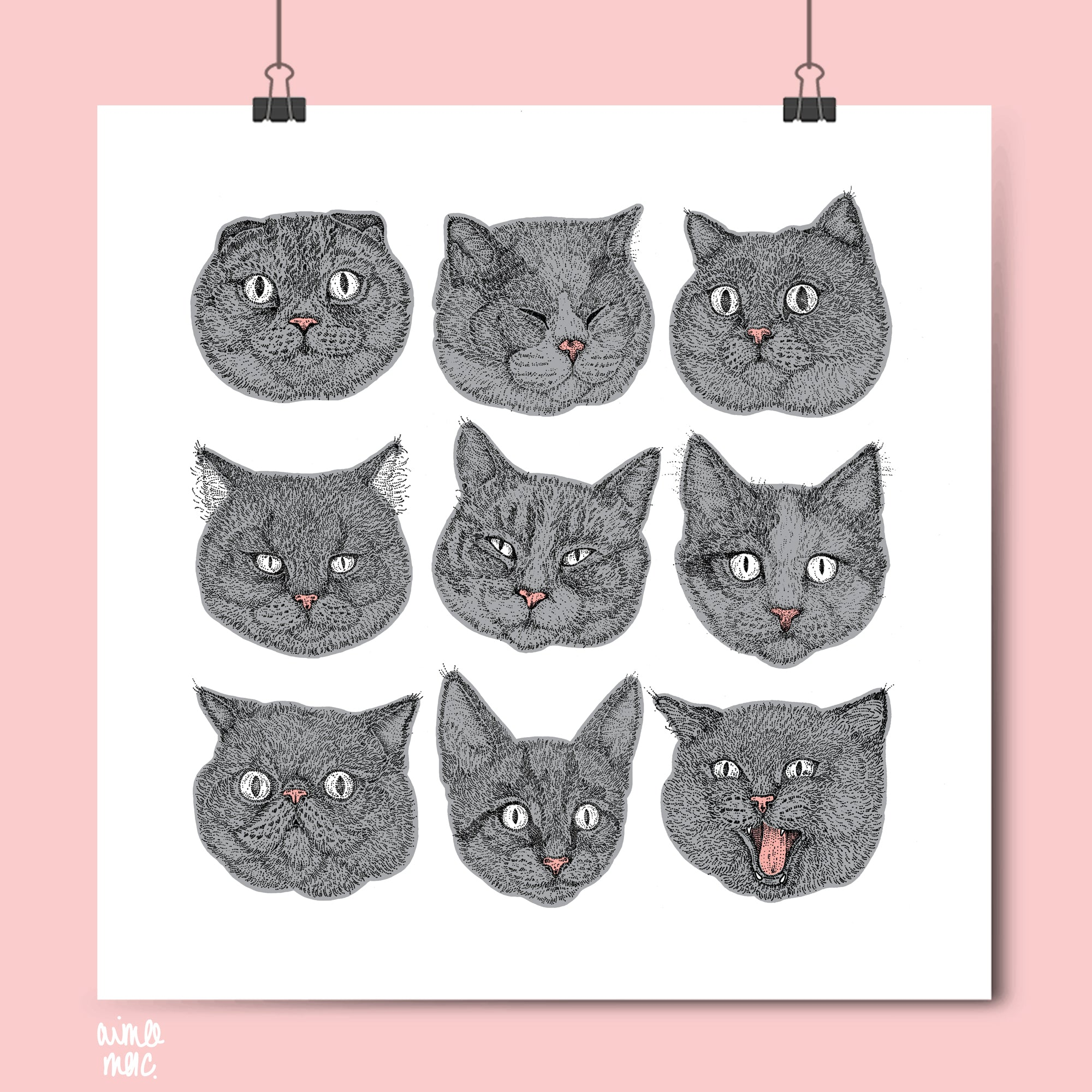 A3 Square Grey cat face print
