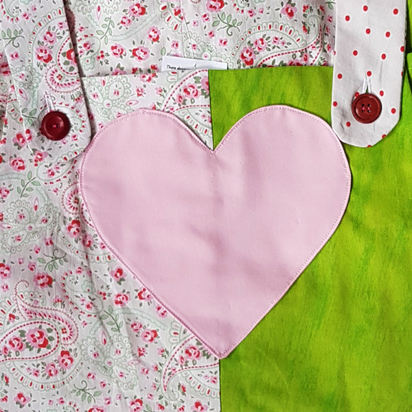 Mixed Pattern Dungarees with pink heart centre