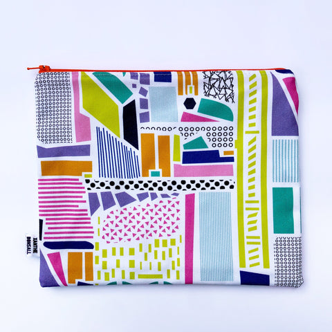 Large collage print pouch