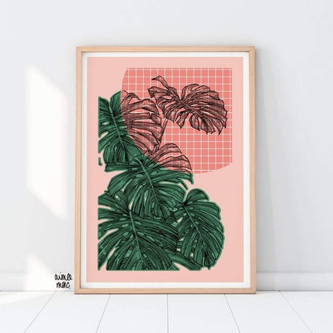 Colour Block Geo Check Monstera Plant Print