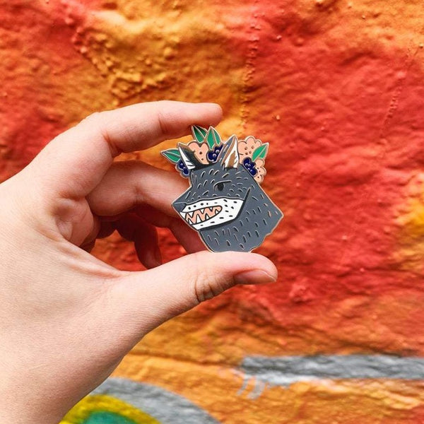 Company of wolves enamel pin