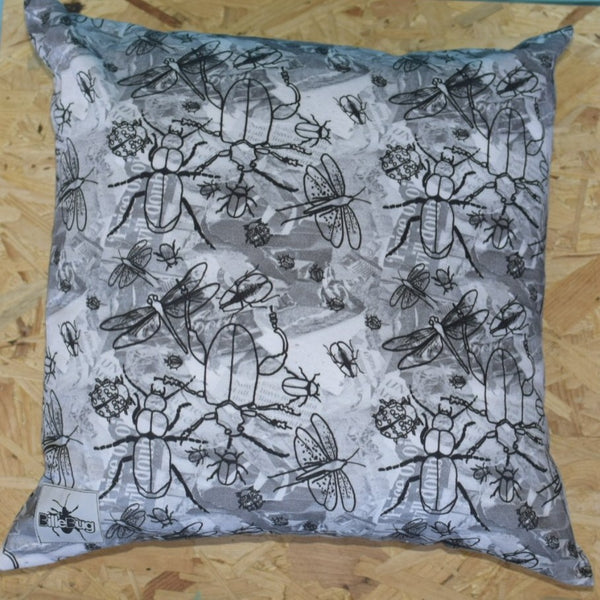 Bug printed hand stitched pillow