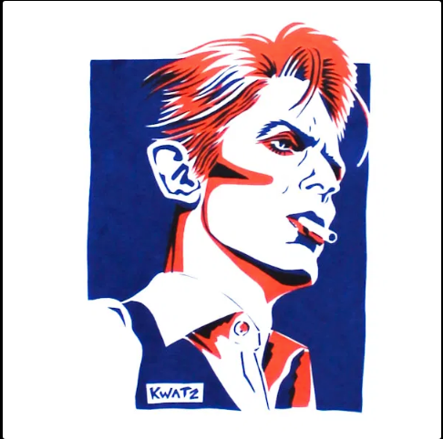 David Bowie print close up