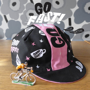 Black and Pin 'Go Fast' Cycling cap