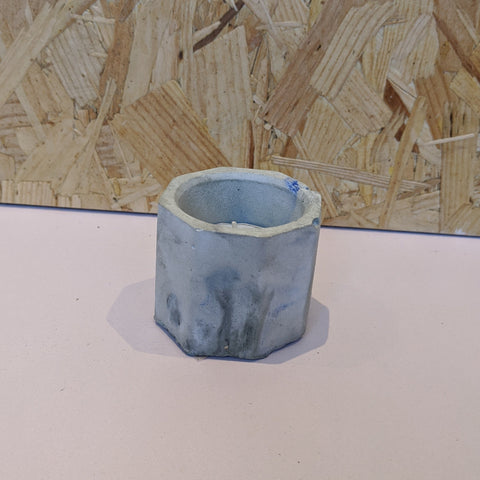 Grey & blue concrete planter