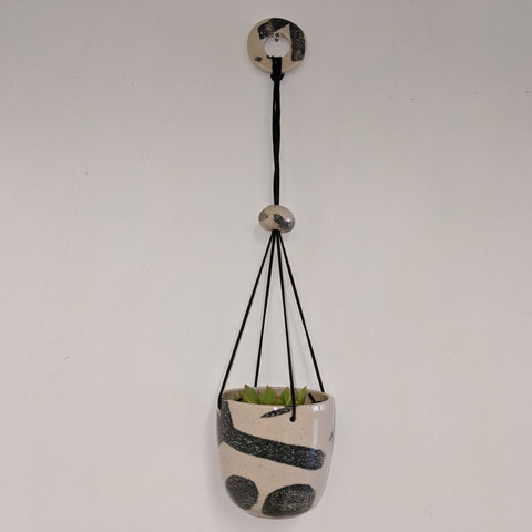 Large Black and white patterned Ceramic Hanging Planter