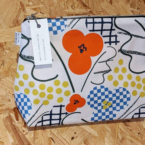Mixed poppy patterned pouch