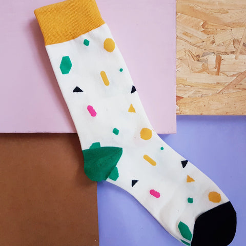 White Abstract Multi Socks