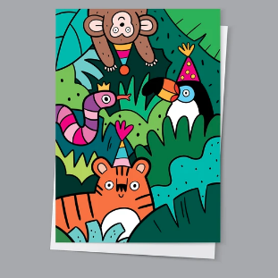 Jungle party card