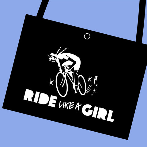 Ride like a girl white vinyl printed cycling bag