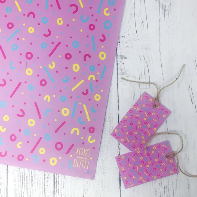 Pink Multi wrapping paper