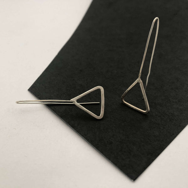 Sterling Silver Triangle Thredder  Earrings