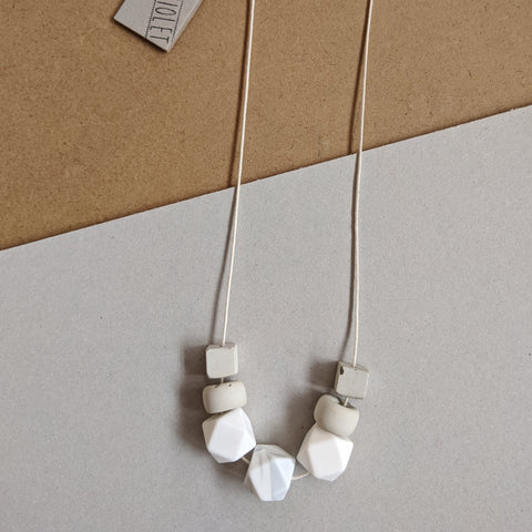 White concrete mix necklace
