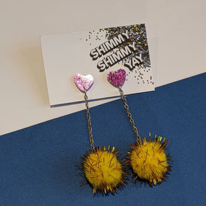 Pink heart & yellow sparkle pom pom drop earrings