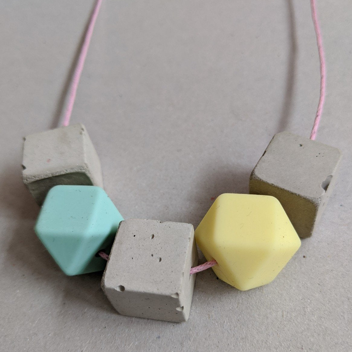 Aqua and yellow concrete necklace