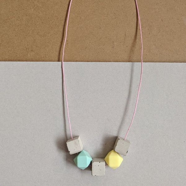 Aqua and yellow concrete mix necklace