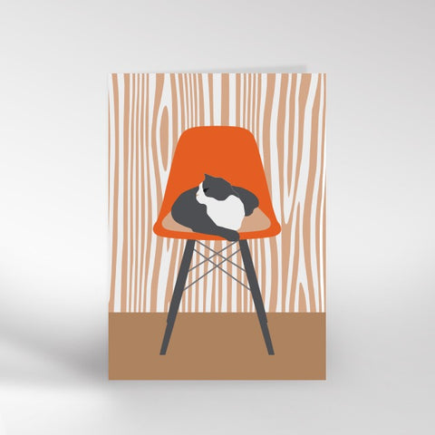Cat on a chair card